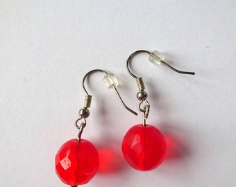 Red fire polished czech beads earrings