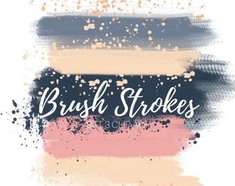 Navy Paint brush stroke Clip Art - Paint splatter clip art -ink clip art- Digital brush strokes - Paint clip art - Commercial use