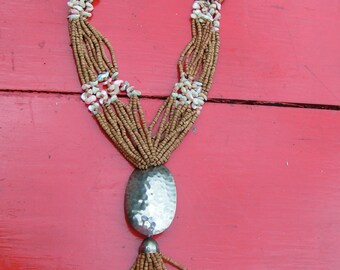 Handcrafted 60s 70s Natural Clay Beaded Necklace with Silver Disk and Beads