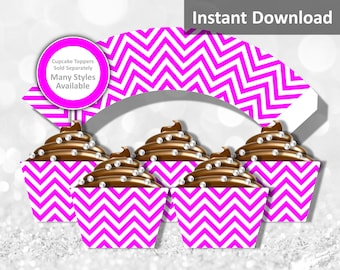 Hot Pink Chevron Cupcake Wrapper Instant Download, Party Decorations