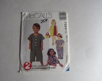 McCalls 7024 Toddler's short and long jumpsuits Uncut Vintage Sewing Pattern Sizes 1, 2, 3, Child's 1990s jumpsuit uncut sewing pattern