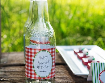 Watermelon Picnic Collection: Printable Water Bottle Wraps