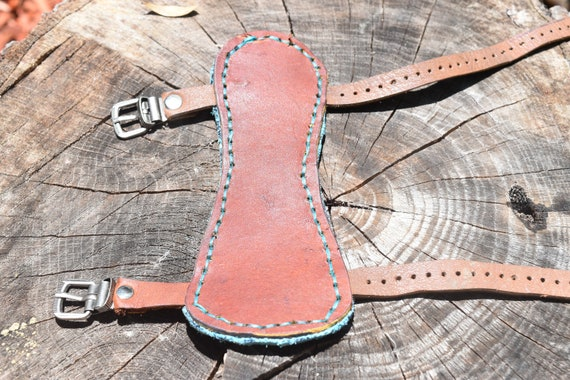 Archery arm guard, Handmade leather arm guard, brown and teal, arm protector