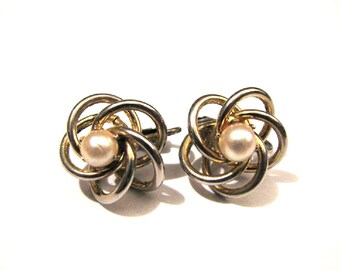 Vintage Silvery Gold Tone Puffy Round Swirled Faux Pearl Clip Earrings