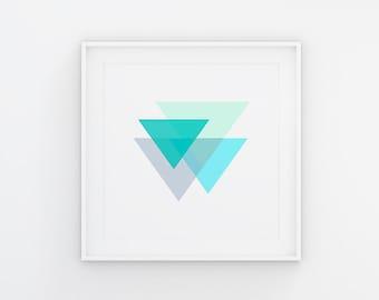 Digital Art Shades of Blue Triangles Minimalist Art Print Gallery Wall Art Abstract Art print Printable Modern Wall Art Baby Boy Gift