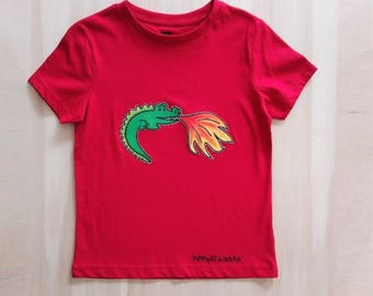 Flame thrower dragon, dragon t-shirt, red kids t-shirt, red t shirt, red dragon, decorated t shirt, hand painted t-shirt, kids t-shirt