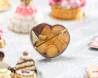 """MTO-Heart-Shaped Gift Box of Assorted """"PARIS""""-themed Cookies and Chocolate - Miniature Food in 12th Scale for Dollhouse"""
