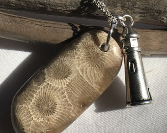 Petoskey stone pendant with lighthouse charm and silver necklace