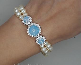 Blue Wedding Bracelet, Pearls Bridal Bracelet, Something Blue,Rhinestone Wedding Bracelet, Swarovski Bridal Jewelry, Blue Opal Bracelet