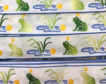 Frog Ribbon, European Ribbon, French Frog Ribbon, Frog with Crown, 3 Yards, Frog, Frogs