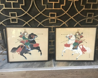 Japanese warrior framed pair