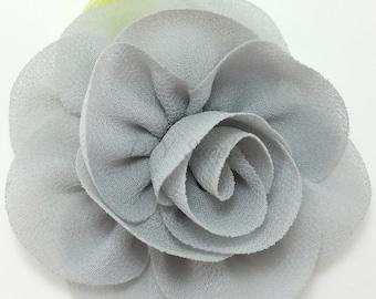 Gray rose fabric flower - Rosette flower for headbands - Wedding hair clip flower - Wholesale chiffon flowers, Small rose flowers
