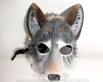 Wolf Mask, Leather, Timber Wolf, Animal Mask, larp,  Fursona, Wolf Costume, Role Play, LARP Garb,  Furry, Cosplay, Halloween, Fantasy
