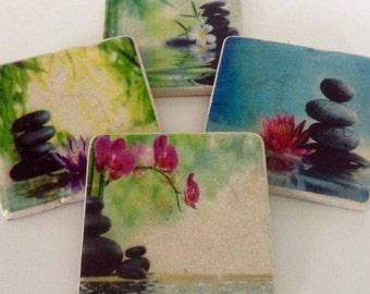 Zen Inspired Coasters - Reflection - Peace - Meditation - Yoga - Balance - Home Decor - Coaster Set of 4
