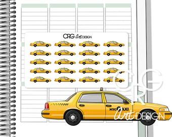 New York Yellow Taxi Stickers    Planner Erin Condren Plum Planner Filofax Sticker