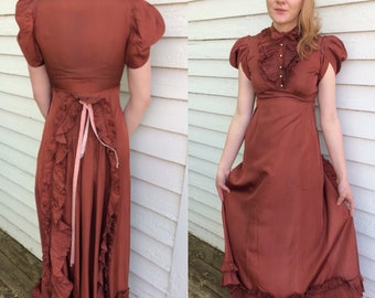 30s Jean Carol Gown Formal Dress Long Rust Copper Tuxedo Ruffle Bustle S XS