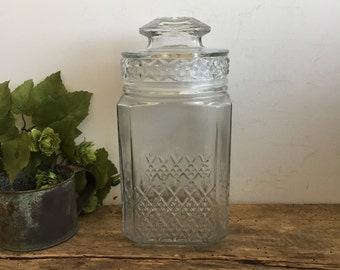 Vintage Koeze's Clear Glass Canister Lid Cookie Jar Kitchen Storage Cottage Shabby Chic Fixer Upper Style Storage Organization Antique Jar