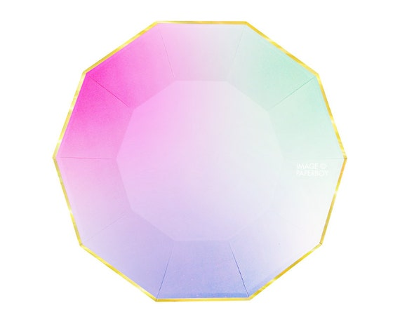 Toot Sweet Ombre Large Paper Plates by Meri Meri Modern Chic Pastel Rainbow Plates Hexagon / Light Pink Mint Green Yellow Gold Foil Easter from ...  sc 1 st  Etsy Studio & Toot Sweet Ombre Large Paper Plates by Meri Meri Modern Chic Pastel ...