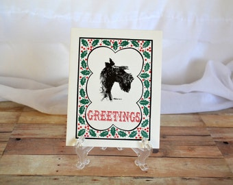 Seasons Greetings, holiday card, christmas card, paper ephemera, Scottish terrier, scottie dog, scotty dog, merry christmas, dog mom, gift