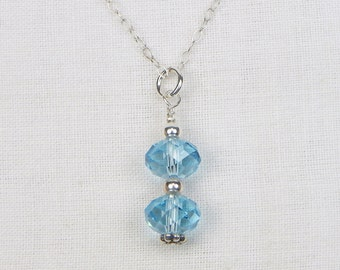 Swarovski Crystal Sterling Silver Necklace - Swarovski Rondelles - Blue Swarovski Crystals - Gift For Her