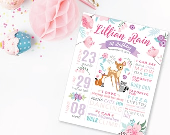 Milestone Wall Art, Woodland 1st Birthday Print - 1st Birthday Sign, Baby Keepsake, Deer Milestone Sign, Birth Stats, Printable, Pink-Purple