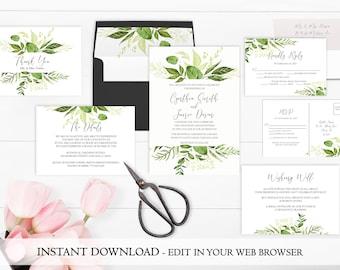Greenery Wedding Invitation Printable | Garden Wedding Invitation Se Template | Instant Download | Leaf Wedding Invite | Spring Wedding PDF