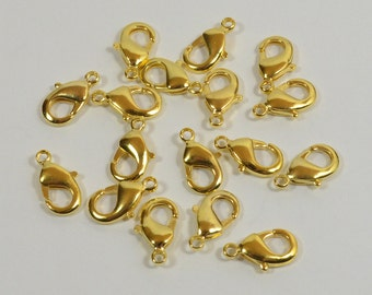 14K Gold Plated Lobster Clasps - 12mm x 7mm - Choose Your Quantity