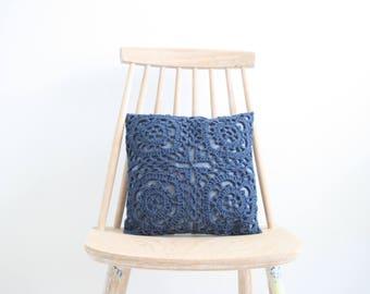 Denim blue crochet pillowcase 30 x 30 cm
