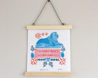Nottingham Lion print, Nottingham gift, wall art, block printed art, handprinted, stamps, stamping