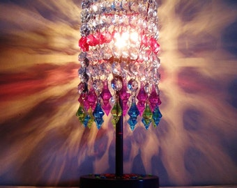Gypsy Calypso Acrylic Jewels Capiz Style Table Lamp