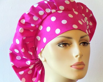 Scrub Hats Bouffant Surgical Scrub Hat - Pink Polka Dot  Medical Scrub Hat