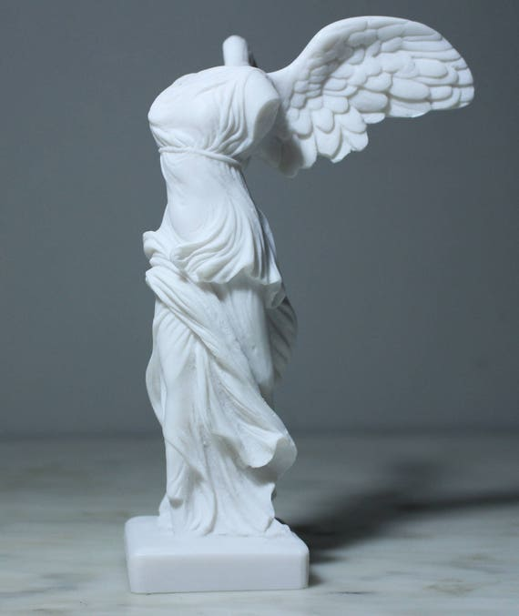 Nike Victory of Island Samothrace Greek Roman Goddess of Victory Handmade  Alabaster Statue Figurine Artifact 8.2