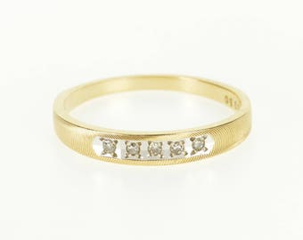 14k Diamond Inset Grooved Textured Wedding Band Ring Gold