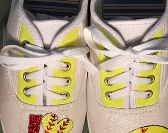 Hand painted Love Softball painted shoes