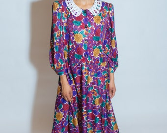 VINTAGE 80s Floral Prairie Dress XS-L