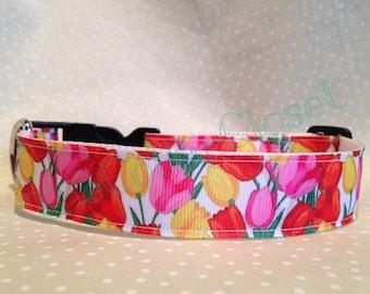 Tulip Spring Summer Floral Dog Collar