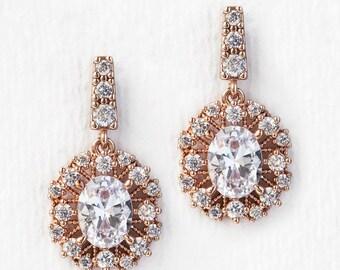 Wedding Jewelry Rose Gold Earrings Drop Earrings Bridal Accessories Bridal Jewelry Crystal Earrings Dangle Earrings Bridesmaid Gift E343-RG