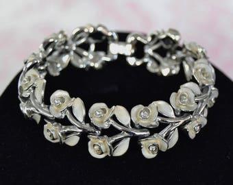 Vintage Bracelet in Silver-Tone Metal with Cream Enamel Roses and Leaves