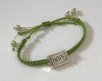 Macrame Bracelet with HOPE Slider, Spring Collection, A New Beginning