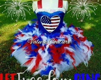 Patriotic Fourth of July Independence Fireworks Flag Inspired Tutu Dress Costume Infant Toddler Girls Baby Newborn Halloween Birthday Outfit