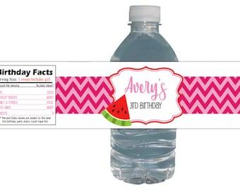 Watermelon Birthday Party Labels *Waterproof*  Peel & Stick Water Bottle Drink Labels