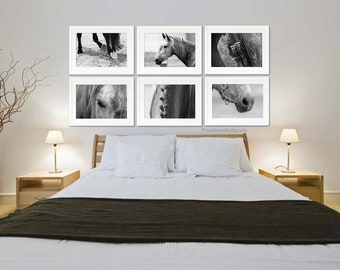 Horse prints decor/Gallery wall Horse art Large wall art/set of 6 prints/black and white photography/Horse photography/horse tack