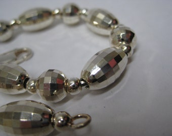 Sterling Bead Faceted Bracelet Silver Vintage 925 Milor Italy