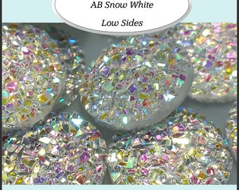 AB Snow White Druzy Round  12mm Bezel Cabochons 10 Pieces - AUSTRALIA   11.5mm - 12mm