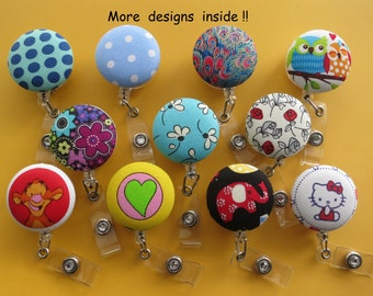 ID Identity Badge Reel Retractable Cord Holder Fabric Covered Button