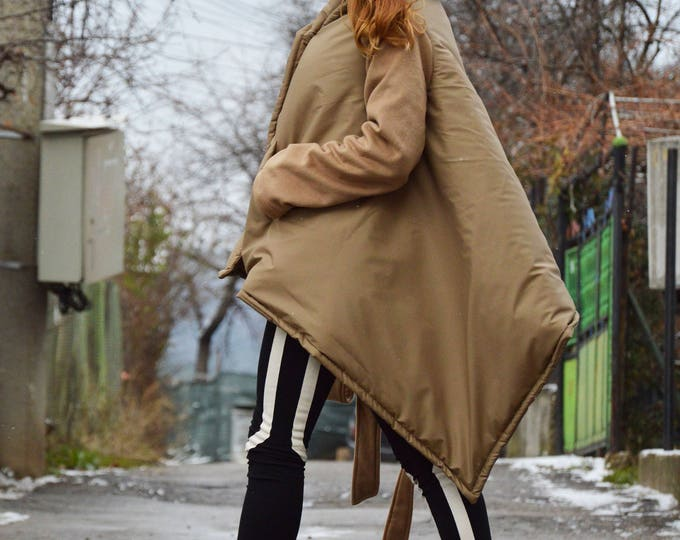 Beige Winter High Collar Women Coat, Asymmetric Beige Cashmere Coat, Long Sleeves Warm Jacket by SSDfashion