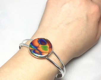 Polymer clay, bangle, bracelet, multicoloured, mokume gane, Jewellery