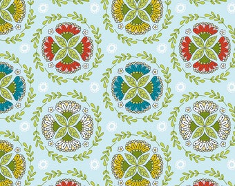 By The HALF YARD - Dutch Treat by Betz White for Riley Blake, #C5282 Dutch Wreath Blue, Green Yellow, Red Pink and Yellow Blossom Medallions
