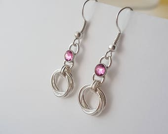 Silver chainmaille earrings with pink swarovski crystals