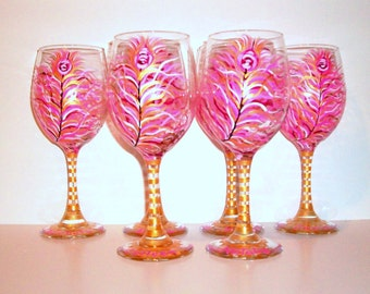 Bridesmaids - Hot Pink and Gold Peacock Feathers 6 - 20 oz. Hand Painted Wine Glasses Bridal Showers Weddings Personalization Bachelorette